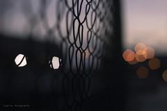 (Ikaria fotografía) Tags: fence valla detalle detail bokeh exterior atardecer dusk crepúsculo sunset lights luces street calle urban urbano colours colores canon 50mm