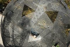 A bit like a Halloween pumpkin (Monceau) Tags: jardindestuileries ball sculpture face triangles metal sheets holes fiac