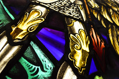 Archangel Michael's knees. Stained Glass Window. (RDW Glass) Tags: douglasstrachan archangel michael stainedglass glasgow scotland rdwglass repair cleaning knees armour dragon