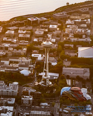 Seattle Center and Space Needle Under the Sunset Rays From 3,417.5 Feet (AvgeekJoe) Tags: aerialphotograph d5300 dslr importedkeywordtags kingcounty nikon nikond5300 seattle seattlecenter spaceneedle tamron18400mm tamron18400mmf3563diiivchld usa washington washingtonstate aerial aerialphoto aerialphotography sunset