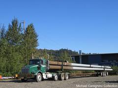 Heavy Hauling Co. Kenworth T800 with Pipe load (Michael Cereghino (Avsfan118)) Tags: kenworth kw t800 t 800 daycab oversize load heavy hauling co company pipe steel