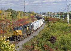 Around the curve (Michael Berry Railfan) Tags: csxt954 csxt498 csx csxt kingstonsub beaconsfield montreal quebec train freighttrain ge generalelectric gevo es44ac ac4400cw es44ah