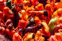 Overhead View of Holi in Shri Dauji Temple, Chhabria (AdamCohn) Tags: 017kmtobaldevinuttarpradeshindia abeer adamcohn baldev chhabria india shridaujitemple uttarpradesh colors geo:lat=27408342 geo:lon=77821954 geotagged gulal holi play wwwadamcohncom अबीर गुलाल baldeo