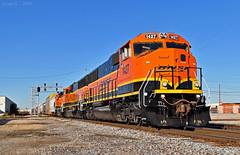 "Eastbound Transfer in Kansas City, MO (""Righteous"" Grant G.) Tags: bnsf railway railroad locomotive train trains east eastbound transfer freight emd power engine kansas city missouri diamond yard job"