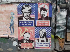 London 2018 (bella.m) Tags: graffiti streetart urbanart london greatbritain shoreditch art wheatpaste pasteup trump fucktrump putin americanpsycho koreanpsycho whitehousecovergirl feelsrussian kimjongun ivankatrump