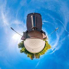 Krematorium Ohlsdorf (HamburgerJung) Tags: hamburg germany deutschland ohlsdorf friedhof krematorium herbst blau himmel panasonicgm5 walimex fisheye panorama hugin freihand freehand stereographic planet littleplanet