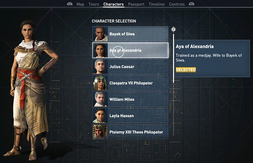 Assassin's Creed Origins Discovery Tour Character selection