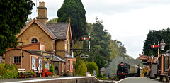 THE TRAIN NOW ARRIVING (chris .p) Tags: hampton loade shropshire nikon d610 capture steam train countrystation svr autumn 2018 railway uk england october view trees severnvalleyrailway