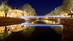 Nightly Reflection (docwiththecamera) Tags: turku nordic water lamp tree city river night reflection building shadow light
