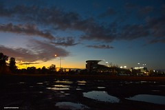 Autzen Stadium sunset (JSB PHOTOGRAPHS) Tags: jsb0861 autzenstadium sunset nikon d3 28300mm sky water clouds