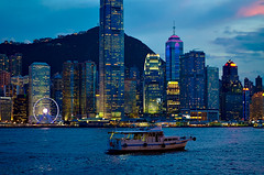Hong Kong at night (Bokeh & Travel) Tags: hongkong panorama cityscape landscape citylights city seasideview riverfront skyscrapers architecture bluehour blueevening sunset sunsetcolors china asia skyscraper colorful beautiful boat skyline