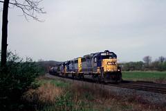 CSX GP40-2 6204 wast bound at MP22 near Alburits PA, April 2, 1998 (swissuki) Tags: csx gp402 allentown alburtis railroads us pa
