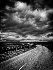 North Coast 500 - Scotland (Patrik S.) Tags: bw black white scotlannd north coast 500 highlands road sky clouds dark rain uk united kingdom lumix panasonic fun travel roadmovie landscape dreary curve curvaceous street country countyside sad lonely alone center line pagan moor