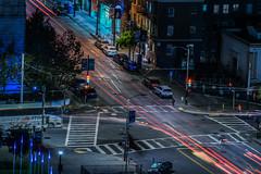 larkin at mcallister street (pbo31) Tags: bayarea california nikon d810 color night dark october 2018 boury pbo31 sanfrancisco city urban lightstream motion traffic roadway over black siemer civiccenter blur larkin