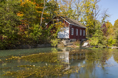 Morningstar Saw Mill (Nicoli OZ Mathews) Tags: morningstarmill stcatherines beautiful building architecture wood red historic outside park green trees reflection water art fall fallcolours fallcolors blue nature tree bluesky landscape ontario river orange