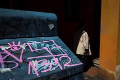Bologna, 2017 (Antonio_Trogu) Tags: streetphotography cassonetto arcade ricoh italia bin unposed shadow bologna urban light antoniotrogu contrast rubbish antonio trogu woman ricohgrii portici candid italy ricohgr street photography 2017
