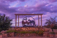 Ramona Sign Under a Periwinkle Sky at Sunset - different angle and closer crop (slworking2) Tags: ramona california sandiegocounty sign country rural clouds sky purple periwinkle sunset weather