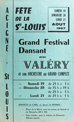 Affichette pour la fête de la Saint-Louis de 1967