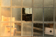 Things Behind A Pane (gripspix (OFF)) Tags: 20180927 lislesurledoubs plant fabrik alt old industriebrache abandoned verlassen lagerraum storage sheddach window fenster sprossenfenster metal metall muntinwindow