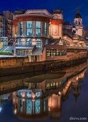 Mercado de La Rivera, Bilbao (dleiva) Tags: mercadodelarivera bilbao euskadi pais vasco españa spain vertical night sunset architecture church market building dleiva domingo leiva reflect water light