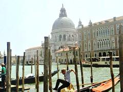 Gondolier jumping back to dry land, Venice (meganmcburnie) Tags: gondola venice venezia italy gondolier boats scenery travel architecture