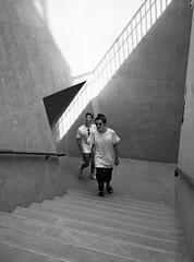 (perryge) Tags: hongkong streetphotography blackandwhite people candid men man stairs walking shadow light geometry urban city lines film rolleirpx100 bronicarf645 bronicazenzanonrf45mmf4 hc110 mediumformat 6x45 taikwun
