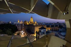 View from the Metropol Parasol, Sevilla, Spain. Christine Phillips (Christine's Phillips (Christine's observations) - ) Tags: spain seville andalucia sunset metrosolparasol framedview newandold historic famous holiday travel mushrooms