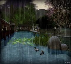 The Great Flow Silent (Loegan Magic) Tags: secondlife river japan ducks bridge littleyoshiwara buildings mountains sky trees water lillypads