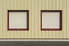 Two red windows (Jan van der Wolf) Tags: map188322v windows ramen lines lijnen edges symmetry symmetric symmetrie facade gevel interplayoflines playoflines lijnenspel building gebouw randen