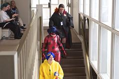 Three Little Maids From School Are We (pecooper98362) Tags: binghamton newyork robersonmuseumsciencecenter robercon2018 letyournerdflagfly sciencefictionconvention stairwell conattendees wildlife cosplay threelittlemaidsfromschoolarewe