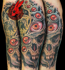 Monster Skull Eye Eyes Creepy Bio Organic Color Realistic 3D Vampire Demon Tattoo by Jackie Rabbit