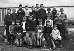 Class photo (theirhistory) Tags: boy child kid girl teacher school class form group pupils students jacket jumper trousers shoes wellies hat cap boots