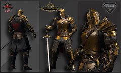 TSC Battle Warden (Golden) (Topa Adamski) Tags: knight warden aesthetic signature secondlife virtualworld zbrush medieval mesh fantasy warrior fullplate templar paladin sl tsc tscreations substancepainter epic larp