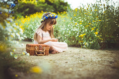 Song of meadow (solomiya.p) Tags: meadow feald girl pretty green flowers wildflowers portrait kids kid wreath outdoor naturallight light colourful mood 35mm sigma childhood children day summer holidays memories