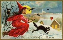Halloween—A Witch Out for Mischief (Alan Mays) Tags: ephemera postcards greetingcards greetings cards paper printed halloween holidays october31 jackolanterns witches women witchhats hats clothes clothing broomsticks brooms bats owls cats blackcats animals trees houses moons fullmoons night nighttime landscape snow mischief mischievous illustrations red yellow blue black 1910 1910s antique old vintage typefaces type typography fonts