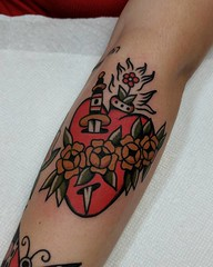 Sacred/Immaculate Heart of Jesus and Mary (Aperrytattooer) Tags: traditional tattoo traditionaltattoo coleman skull bert grimm bertgrimm colemangirl colemanskull