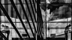 Parallel worlds... (JM@MC) Tags: reflet reflection silhouette copenhaguen copenhague blackandwhite noiretblanc