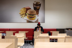 Food for Thought (cookedphotos) Tags: 2018inpictures toronto ontario canada ca mcdonalds restaurant fastfood coke cocacola eat sitting streetphotography 365project p3652018 burger fries