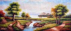 Paysage, Art Painting / Oil Painting For Sale - Arteet™ (arteetgallery) Tags: arteet oil paintings canvas art artwork fine arts landscape sky water tree river lake summer forest scenery clouds cloud sea outdoor scenic reflection trees island outdoors natural scene spring sunny grass horizon mountains season tranquil environment rock idyllic holiday day rocks calm sun pond panorama landscapes pastorals lakes rivers lime cyan paint