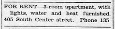 1943 - apartment for rent at 405 S Center - Enquirer - 22 Jul 1943