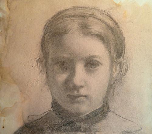 DEGAS Edgar,1858-67 - La Famille Bellelli, Giovanna, Etude (Louvre RF16585) - Detail 09