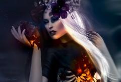 Paint it black (Eria Ziemia) Tags: halloween lode xtcposes truthhair magic darkness flowercrown darkmagic secondlife portraits una