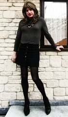 Cooler Day (Amber :-)) Tags: black denim mini skirt tgirl transvestite crossdressing