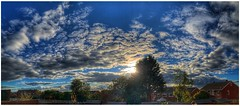 Late afternoon light (andystones64) Tags: clouds cloud cloudscape sky skywatching panoramic pano wideview sun sunlit sunlight weather weatherwatch nature naturephotography houses trees bushes