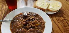 beef and barley soup (jeffreyw) Tags: barley beef soup freshbread warmbread butter lunch dinner