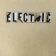 electric sign (MyArtistSoul) Tags: outside sign door stickers letters type aligned electric peeling weathered texture tjs ventura iphone monochrome urban minimal square 3290 iph7