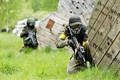 Airsoft (hoboton) Tags: aiming tactics fight ambush aim guard target armed soldier formation male military conflict rifle weapon people two battle zone mission game teamgame act airsoft