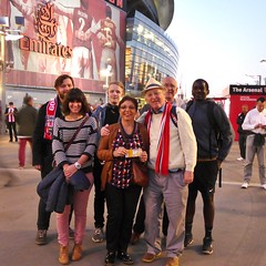 Brentford Fans posing in front of the Arsenal Mural - Sept 2018 (Gareth1953 All Right Now) Tags: brentfordfc arsenal theemiratesstadium family friends mural group people me wife smiling comeonyoubees scarf smiles explore rhys football fans together ticket bees