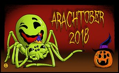 Happy Arachtober 2018! (zxgirl) Tags: arachtober arachnid arachnids arachnida celebrate spider spiders illustration drawing cartoon toon art ericdunn ericslashdunn slash theridiongrallator happyfacespider hawaiianhappyfacespider banner arachtober2018