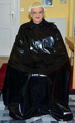 Birgit027459 (Birgit Bach) Tags: dress kleid buttonthrough durchgeknöpft cape pvc shiny glänzend